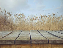 Wooden table with landscape Stock Photography