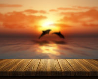 Wooden table looking out to sea with dolphins jumping Stock Photos