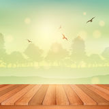 Wooden table looking out to sunny landscape Stock Photography