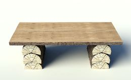 Wooden table made of tree trunks Stock Photos