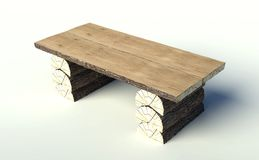 Wooden table made of tree trunks Stock Images
