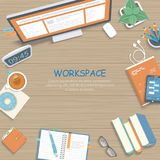 Wooden table with monitor, books, notebook, headphones, pencils. Workplace background top view. Vector illustration royalty free illustration
