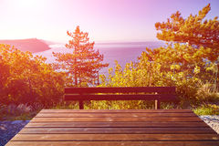 Wooden table at morning Royalty Free Stock Photos