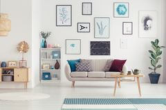 Posters in modern living room. Wooden table next to a sofa against white wall with gallery of posters in modern living room interior Royalty Free Stock Photos