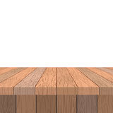 Wooden table. Old vintage table in perspective. Wooden stage and Stock Images