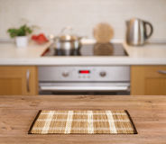 Wooden Table On Defocused Kitchen Bench Background Stock Images