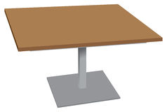 Wooden table for outdoor environments. Wooden table with stand stainless steel for outdoor environments. Vector illustration Stock Photos