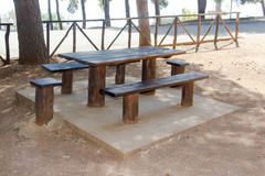 Wooden table for picnic Royalty Free Stock Photos