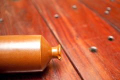Wooden Table and pot Stock Image