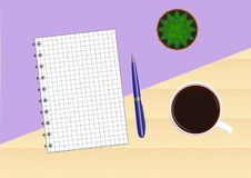 Wooden table with a purple background with a notebook, pen, cup of coffee and cactus. Top view. Stock Image