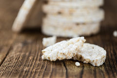 Wooden table with Rice Cakes Stock Photography
