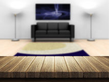 Wooden table with room interior in background Royalty Free Stock Images