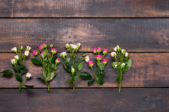 The wooden table with roses, top view Stock Photos