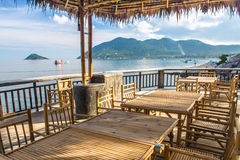 Wooden table in sea seaside restuarant Royalty Free Stock Images