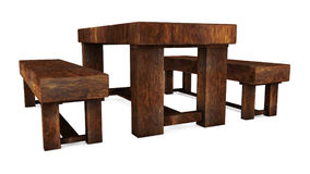 Wooden Table With Seat Stock Photography