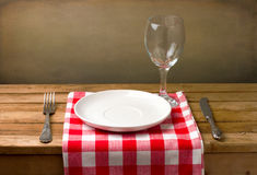 Wooden table setting Stock Images