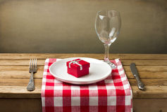 Wooden table setting Royalty Free Stock Images