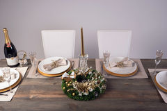 Wooden table setting and decoration for meal time, studio shot Stock Photography