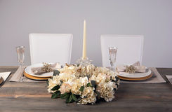 Wooden table setting and decoration for meal time, studio shot Stock Photos