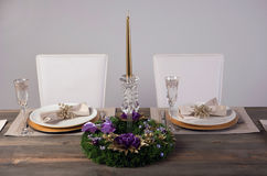 Wooden table setting and decoration for meal time, studio shot Royalty Free Stock Photos