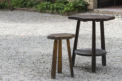 Wooden table and stool Stock Image