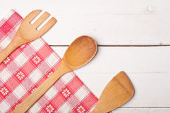 Wooden table and tablecloth Royalty Free Stock Photography