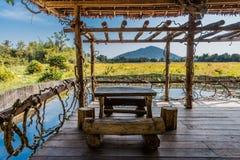 Wooden table terrace Angkor Cambodia Stock Photos