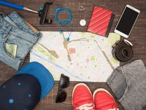 Preparing for travel to Italy, things are laid out on the table Royalty Free Stock Photos