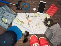 Preparing for travel to Italy, things are laid out on the table Royalty Free Stock Photography