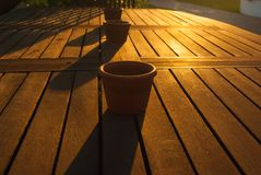 Wooden table with three bowls royalty free stock image