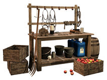 Wooden table with tools. 3D render of a wooden table with buckets, tools, a crate with apples and barrels stock illustration