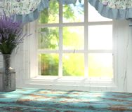 A wooden table top with a blue color and vase of lavender in front of blurred background of a window with a green garden behind th. E glass. Interior in the vector illustration