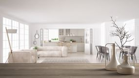 Wooden table top or shelf with minimalistic modern vases over blurred modern white kitchen and living room with sofa and big. Window, minimalist architecture stock illustration