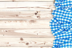 Wooden table, top view, with blue tablecloth Stock Photo