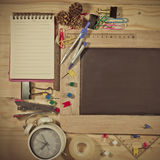 wooden table top view of the chalk board . Stock Photos