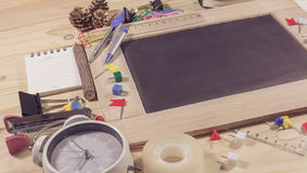 wooden table top view of the chalk board . Stock Images