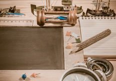 wooden table top view of the chalk board . Stock Image