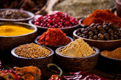 Wooden table of traditional Asian spices Royalty Free Stock Image