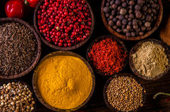 Wooden table of traditional Asian spices Stock Image