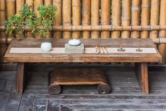 Wooden table with traditional chinese set of tools to prepare tea Stock Photography