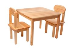 Wooden table with two chairs Stock Images