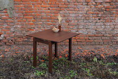Wooden table with vase and wallnuts on green grass near old bric Royalty Free Stock Photos