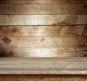 Wooden table and wall. Empty wooden table and wall Stock Images