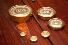 Wooden Table and weights Royalty Free Stock Photo