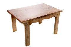 Wooden table on white background Royalty Free Stock Photos