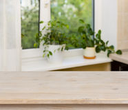 Wooden table on window background Royalty Free Stock Photography