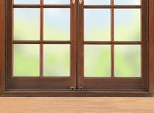 Wooden table and window and nature background Stock Photo