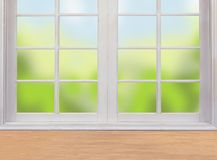 Wooden table and window and nature Royalty Free Stock Photos