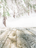 Wooden table in winter forest Royalty Free Stock Photography