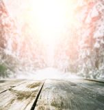 Wooden table in winter forest Stock Photography
